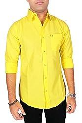 AA' Southbay Men's Lemon Yellow Linen Cotton Casual Shirt
