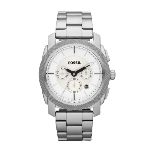Fossil Men's Machine Chronograph Watch Fs4663 With Silver Dial And Stainless Steel Case And Bracelet