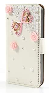 Flower Heart Diamond Pearl leather iPhone 5s 5 Clutch Purse Wallet Handbag Case Cover