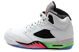 Air Jordan V 5 Retro Basketball Shoe, White/Poison Green/Black/Infrared, Size 12