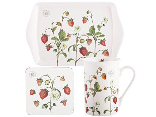 Royal Botanic Gardens, Kew Temps pour le thé Coffret cadeau Motif fraises, blanc, lot de 3