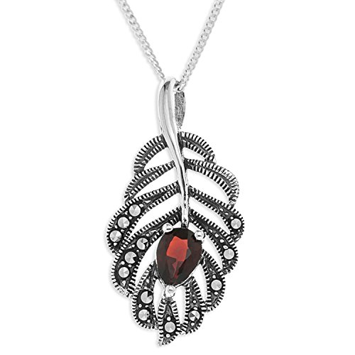 ornami-sterling-silver-marcasite-and-garnet-leaf-pendant-on-chain-of-46cm