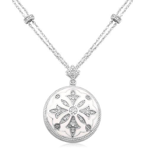 Sterling Silver Enamel Vintage Diamond Pendant Necklace (1/10 cttw, I-J Color, I2-I3 Clarity), 18