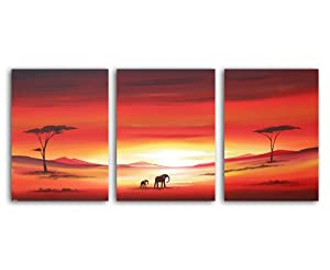 African Landscape Original Canvas 3 Set Painting Wall Art - By SCA ART from SCA ART