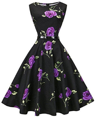 VOGVOG Women's Audrey Hepburn Sleeveless Plus Size Vintage Tea Dress with Belt Rose Purple XXXL