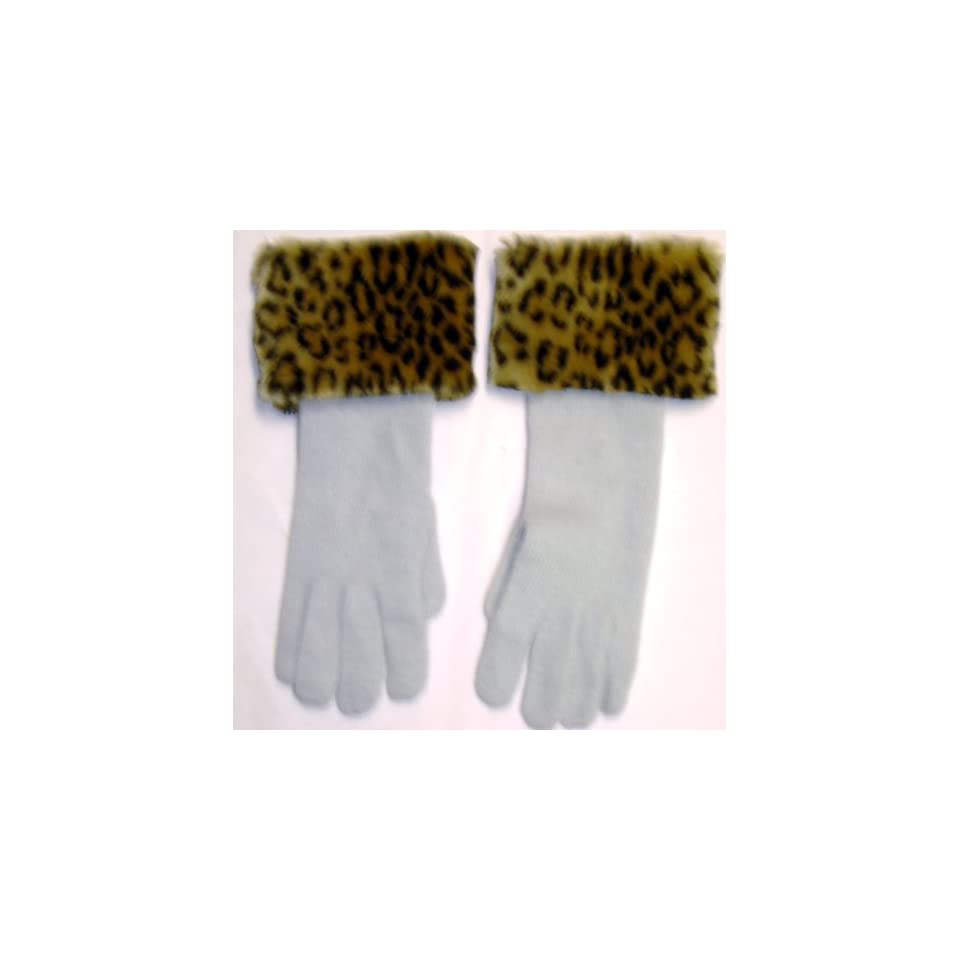 Winter White Angora Wool Gloves Hand Trimmed with Fluffy Leopard Print Fur Cuff for Women and Teens