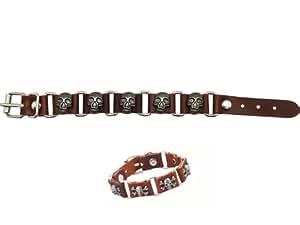 Brown Faux Leather Skull Segmented Bracelet