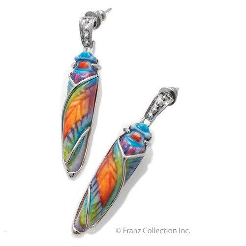 Franz Porcelain Amulet Beetle Pierced Earrings Jewelry
