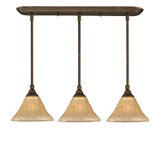 Toltec Lighting 25-BRZ-750 Multi Light Mini-Pendant Bronze Finish with Amber Crystal Glass Shade, 7-Inch