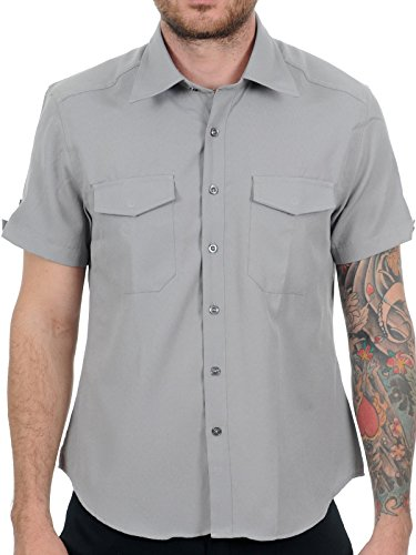 Camicia A Maniche Corte King Kerosin Worker-Gas Grass And Ass Grigio (S , Grigio)