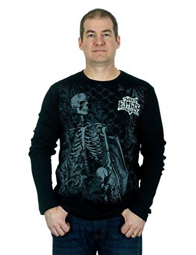 MMA Elite Long Sleeve Thermal Style Shirt (Black, X-Large)