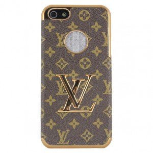 Luxury Designer Case Cover Lv Brown Monogram for Iphone 5 + Free Cell Phone Pendant