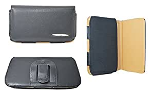 TOTTA Universal PU Leather Black Belt Pouch For Micromax Canvas A1