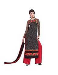 Blue And Red Semi Stitched Georgette And Santoon Designer Party Wear Suit