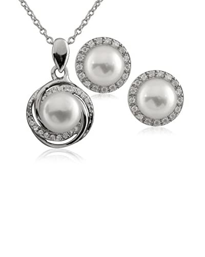 Splendid Sterling Silver Pearl Pendant Necklace and Earrings Set