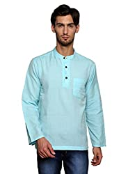 Dhrohar Blue Khadi Cotton Full Sleeve Short Kurta for Men