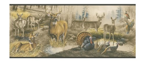 York Wallcoverings Lake Forest Lodge Lm7906B Wild Life Border, Browns With Black Band front-326575