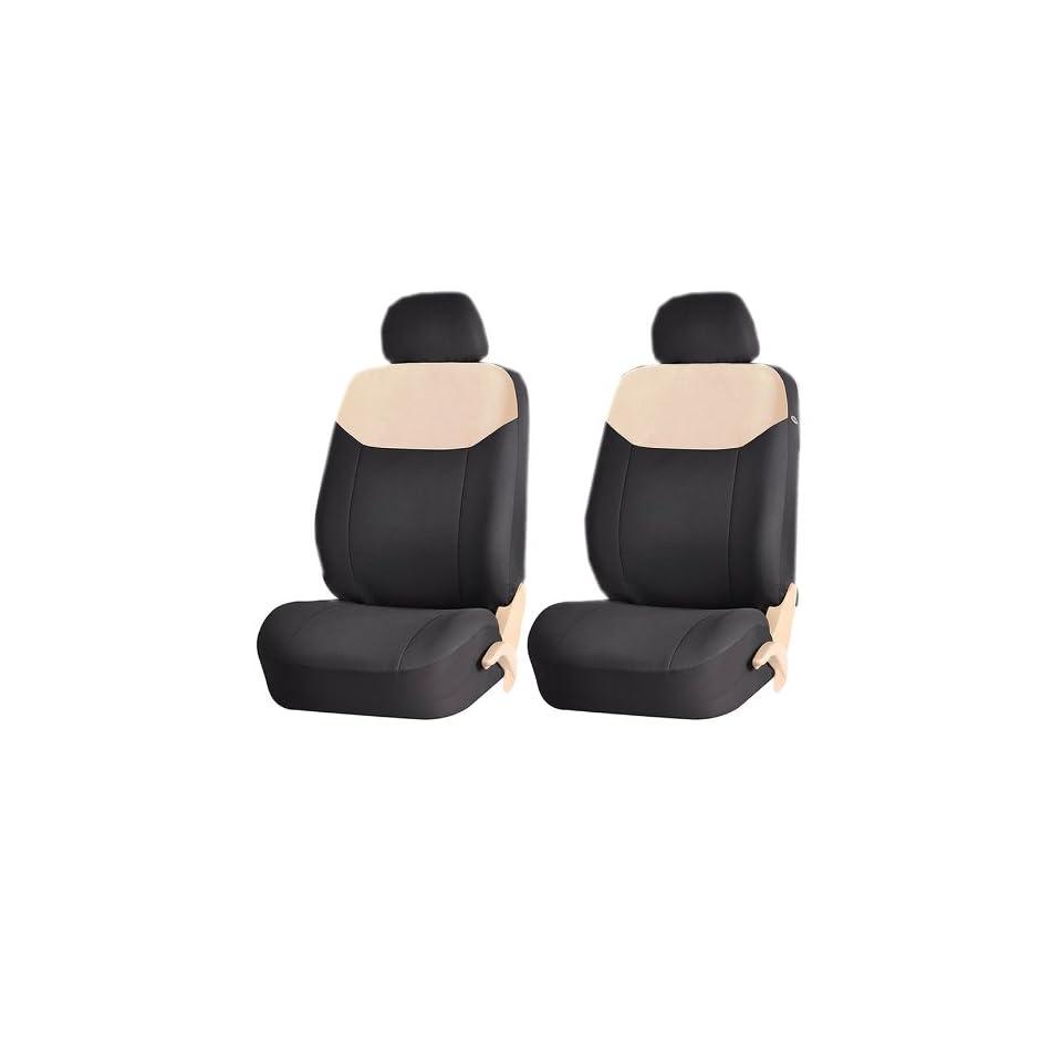 Elegant Style 186 Beige & Black Front Low Back Airbag Compatible Seat Covers Set Universal Automotive