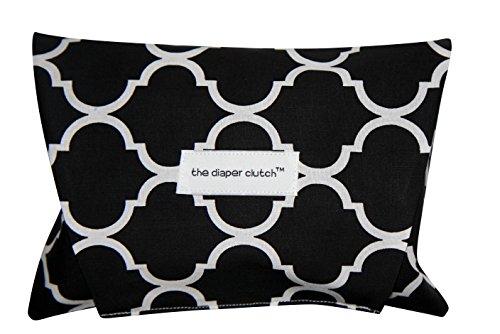 The Diaper Clutch Diaper and Wipe Case - Black Quatrefoil