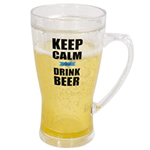 Boston Warehouse Frosty Beer Mug, Keep Calm and Drink Beer Design, 14-Ounce