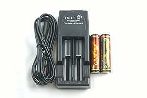 18650(2本付) TrustFire TR-001 黒 充電器+電池セット