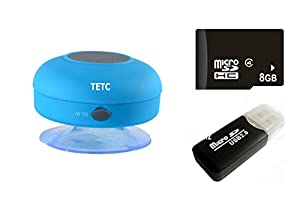 Wireless Mini Waterproof Bluetooth Suction Shower Car Handsfree Mic Speaker (Blue) by TETC