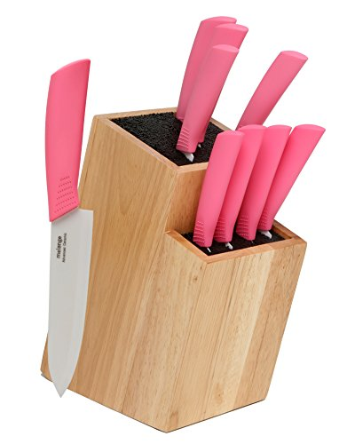 Melange 10-Piece Pink Handle and White Blade Ceramic Knife Set with 2-Tier Wood Universal Knife Block