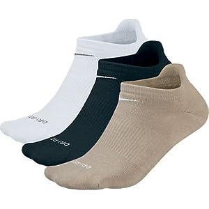 Nike Men's Dri-Fit Performance Tab Golf Socks (3-Pair), White/Black/Khaki, Shoe Size 6.5-12