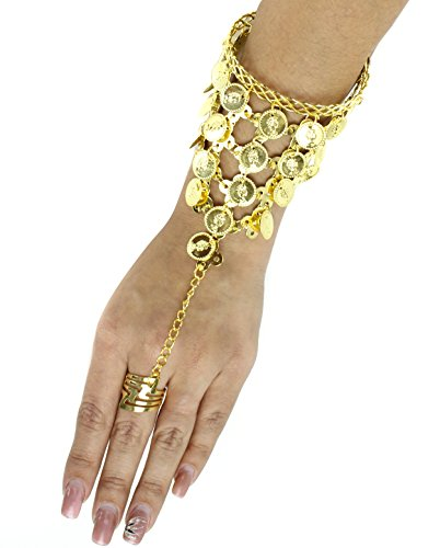 Gold Tone Coin Ring Jingle Bracelet Belly Dance/Harem EDC Rave Jewelry