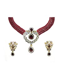 Sempre Of London Red Bead Designer Necklace With Designer Earrings With Gold Two Tone Plated In Austrian Crystal...