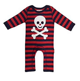 Toby Tiger Unisex Baby Organic Pirate Applique Sleepsuit Blue/ Red 0 - 3 Months