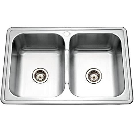 Houzer PGD-3322-1 Premiere 33-by-22-Inch Double Bowl Drop-In Stainless Steel Kitchen Sink
