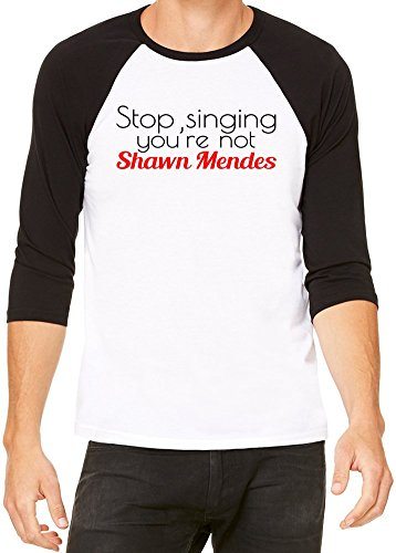 Stop Singing you're Not Shawn Mendes Slogan Baseball Jersey Unisex Small