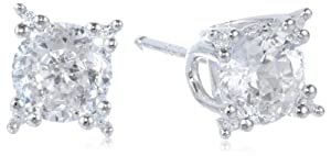 """Platinum Plated Sterling Silver """"100 Facets Collection"""" Round Cubic Zirconia Four-Prong Stud Earrings"""