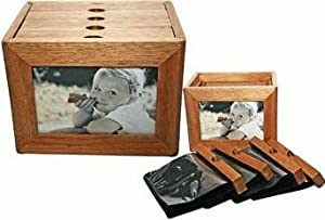 2-in-1 Oak Wood Photo Album & Two Side Frame for Displaying Memories 4x6 (Holds 96 Photos)