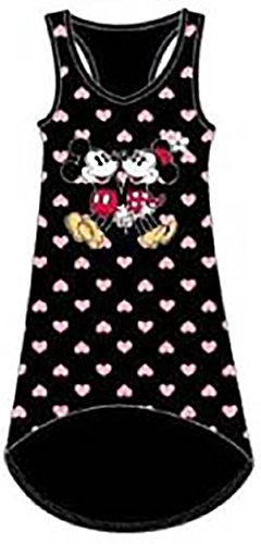 [Disney Mickey & Minnie Mouse HEARTS Womens Pajama Tank Top Nightie -Black Pink] (Minnie Mouse Nose)
