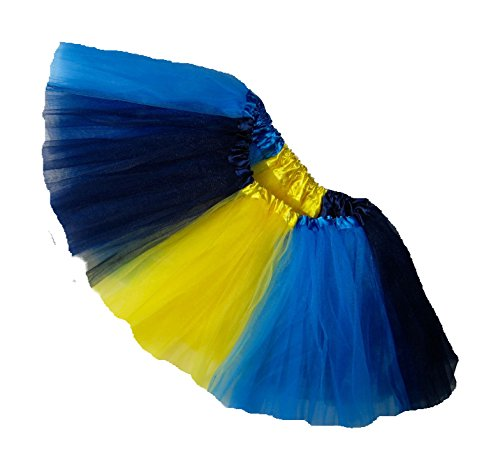 Southern Wrag Co ADULT TEAM SPIRIT Tutu NAVY YEL NNBLUE Waist 20-42 Length 11