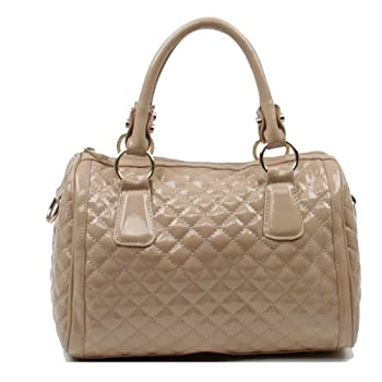 Scarleton Quilted Patent Faux Leather Satchel H106408 - Beige. Please note: actual color may vary from picture due to computer settings.
