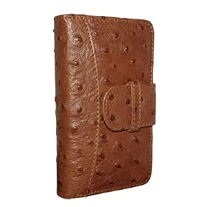 Piel Frama Tan Ostrich Cowskin Leather Wallet for iPhone 4 / 4S