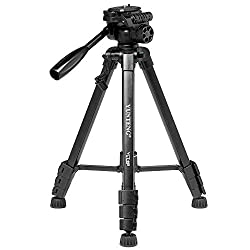 Andoer Camera Tripod with Double Support 360-degree Panoramic Pan Head Quick Realease Plate for Nikon Canon Panasonic Sony Olympus Pentax