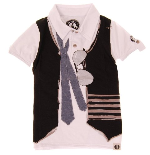 Mini Shatsu Boys Real Tie & Vest Polo Shirt - 4T - White front-789