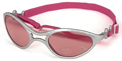 Doggles K9 Optix Shiny Silver Rubber Frame with Pink Lens Sunglasses, XX-Small