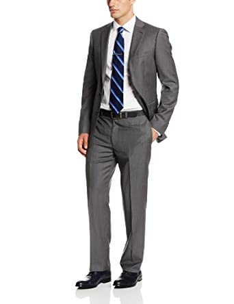 Calvin Klein Men's Mabry Extra Slim Fit Micro Stripe Suit, Gray, 44 Short