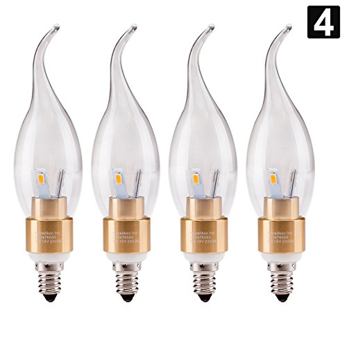 4 pack of hyperikon led candle 4 watt 40 watt flame tip chandelier bulb gold housing. Black Bedroom Furniture Sets. Home Design Ideas