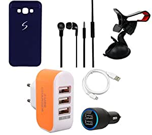 NIROSHA Cover Case Car Charger Headphone USB Cable Mobile Holder Charger for Samsung Galaxy A8 - Combo