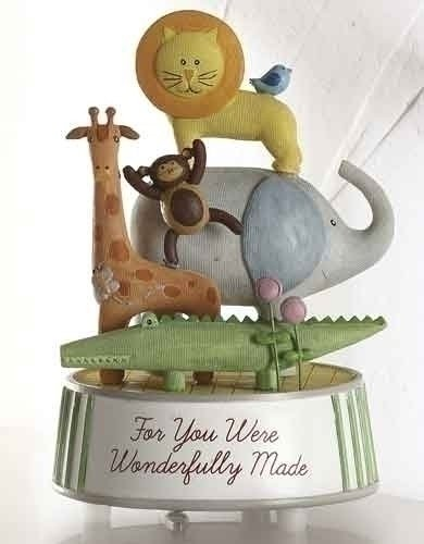 "Wonderfully Made Wind Up Musical Music Baby Zoo Animals Nursery 5.5"" Statue Plays Brahms Lullaby"