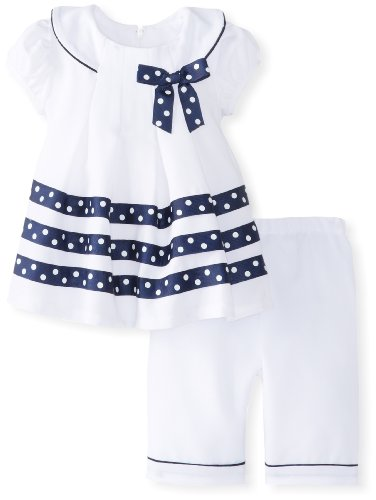Bonnie Baby Baby-Girls Newborn Poplin Front Pleat Dress With Capri Pants, White, 3-6 Months front-861939