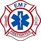 Firefighter Sticker - 4'x4' EMT/Firefighter Exterior Window Decal