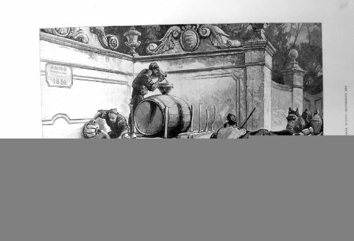 old-original-antique-victorian-print-fountain-at-cintra-near-lisbon-sketch-water-barrels-1883