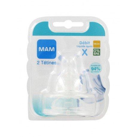 Mam - Set di tettarelle anatomiche, per flusso rapido e liquido spesso, in silicone, 2 pz., colore: Trasparente